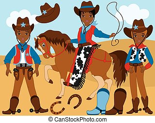 Vector Set with Young African American Cowboys, Horse, Lasso and Horseshoe
