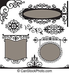 Vector set: wrought iron vintage signs and elements for...