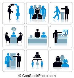 vector, set, zakelijk, icons., mensen