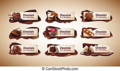vector, set, zoetigheden, chocolade, cacao, gesmolten, bonen, illustraties, banieren, bar
