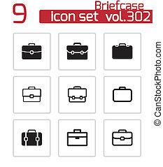 vector, set, zwarte aktentas, iconen