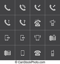 vector, set, zwarte telefoon, iconen