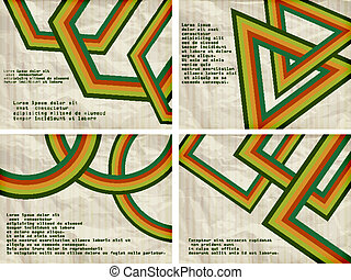 vector set:retro background with abstract figures and place for your text, crumpled paper texture