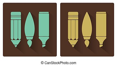 Vector sets of art tools, pencil, brush, and marker