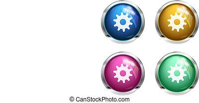 Vector settings cogwheel button