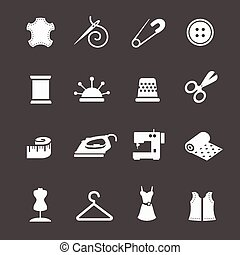 Vector sewing equipment and needlework icon set - Vector...