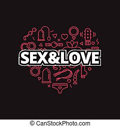 Vector sex shop icons in shape of heart. Trendy two color line style love symbols