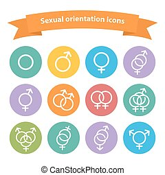 Vector sexual orientation white web icons, symbol, sign in ...