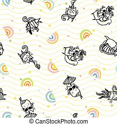 Vector sexy beach cat seamless pattern