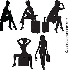 Sexy girls in suitcases silhouettes - Vector Sexy girls in...