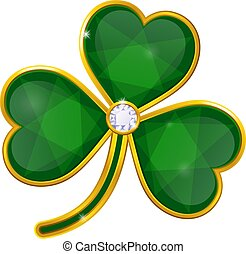 vector shamrock badge with emeralds on white background