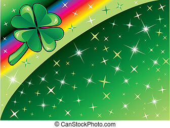 Vector Shamrock Rainbow Background 2 with stars. There is space for text or image.