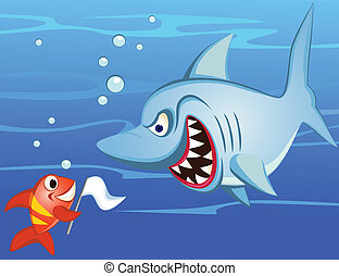 shark and tiny fish make peace - Vector shark and tiny fish...