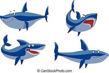 Vector shark character set. - Vector illustration toothy...
