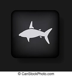 vector shark icon on black. Eps10
