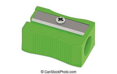 Vector Sharpener Pencil green on a white background