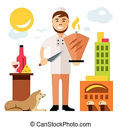 Vector Shawarma Chef, Arabic Food Restaurant. Flat style colorful Cartoon illustration.