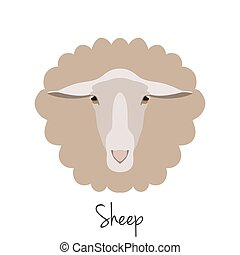 Vector sheep head isolated. Flat, cartoon style object