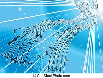 Vector Sheet music background - An abstract vector music ...