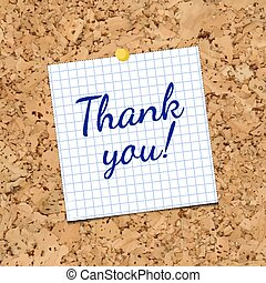 Vector sheet of paper on corkboard with phrase Thank you.