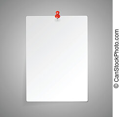 Vector sheet of paper with red push pin