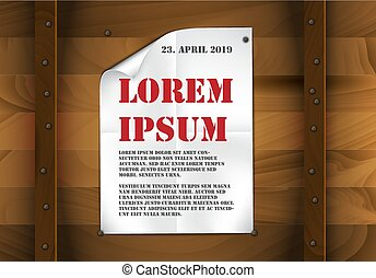 Vector sheet of white paper on a wooden background