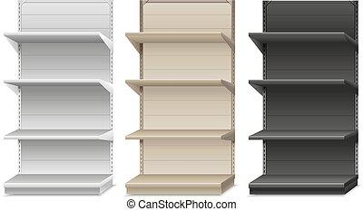 vector, shelf., supermercado, ilustración
