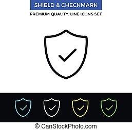 Vector shield and checkmark icon. Thin line icon