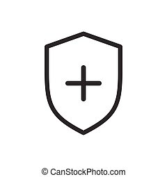 Vector shield and cross icon. Medicine concept. simple thin line icon for presentations, websites, web design, mobile app, infographics.