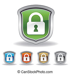 shield and lock icon - vector shield and lock icon set