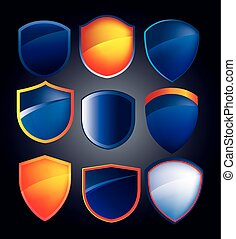 vector shield collection with glossy reflections in blue and ora