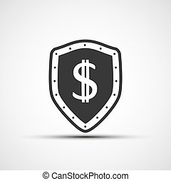 Vector shield with a shield and a dollar sign.