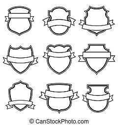 shield with ribbon collection set isolated - Vector shield...