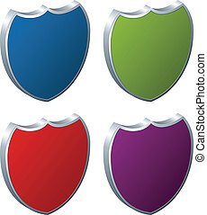 vector shields - 3d badges