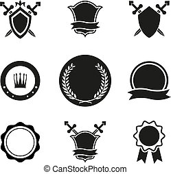 Black and White Vector Shield Crowns and Emblems Icons. Used for Logos and Other Graphic Design.