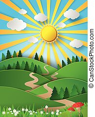 vector, shine, paper, hill, sunligh