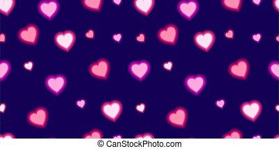 Vector Shining Heart Seamless Pattern, Dark Blue Background and Love Symbols.