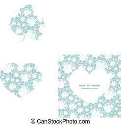 Vector shiny diamonds heart silhouette pattern frame