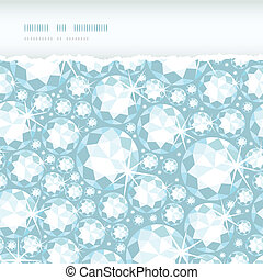 Vector shiny diamonds horizontal torn frame seamless pattern background with geometric elements.