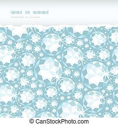 Vector shiny diamonds horizontal torn frame seamless pattern...
