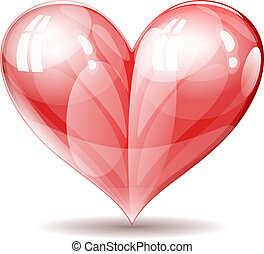 Vector shiny glossy heart illustration.