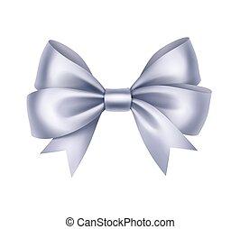 Shiny Light Blue Satin Gift Bow Close up Isolated