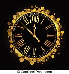 Vector shiny New Year 2018 countdown Clock on the black background