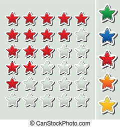 Vector shiny rating stars - five various color