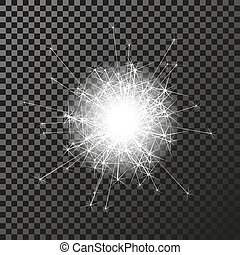 Vector shiny sparkler symbol on the dark background - sizzling sparkles, transparency stellar flare. Shining reflections.