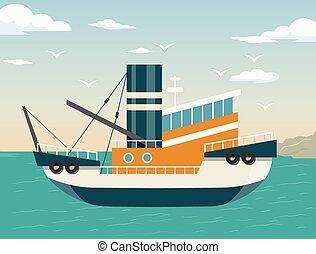 Vector ship flat illustration