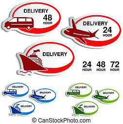 Vector shipping, delivery oval stickers - car, ship, plane