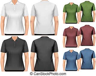 vector., shirts., ontwerp, vrouwlijk, polo, template.