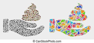 Vector Shit Hand Mosaic Icon of Triangle Elements