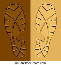 vector shoe imprints mud sand